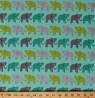 Cotton Elephants Elephant Animals Jungle Party Mint Green Cotton Fabric Print by the Yard (AED-15058-27-BERMUDA)