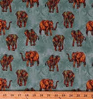 Cotton Elephants Indian Elephant on Blue Tribal Elements Africa Asian Animals Nature Cotton Fabric Print by the Yard (120-10801)