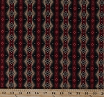 Cotton Southwest Stripe Southwestern Diamond Pattern Rustic Northwoods Lodge Cabin Red Green Cotton Fabric Print by the Yard (MINI-C1718)
