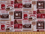 Cotton Coffee Signs Cafe Saying Words Coffee Cups Barista Brew Beans Pots Red Ecru Cotton Fabric Print by the Yard (COFFEE-C2480)