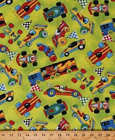 Cotton Racing Cars Vehicles Race Car Semis Checkered Flags Race Day Kids Transportation Cotton Fabric Print by the Yard (1428-734-65172)