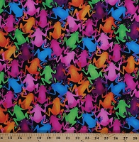 Cotton Frog Frogs Amphibians Animals Jungle Multi Funny Frogs on Black Cotton Fabric Print by the Yard (FUNNY-FROG-6043)