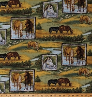 Cotton Horses Grazing in Pastures Equestrian Farm Animals Ranch Running Wild Cotton Fabric Print by the Yard (M713.18)