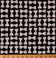 Cotton Bowties Neckties Fancy Dress Neckwear on Black Night at the Opera Cotton Fabric Print by the Yard (08006-12)