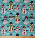 Fleece Folk Snowmen Snowman Winter Snow Snowflakes Blue Fleece Fabric Print by the Yard o46239-5b