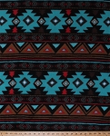 Fleece Peace Stripe Stripes Southwest Southwestern Turquoise Brown Red Aztec Fleece Fabric Print by the Yard (46374-2b)