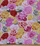 Fleece (not for masks) Roses Rose Flower Flowers Blooms Gardener Gardening Botanical Pink Red Yellow White Floral Fleece Fabric Print by the Yard (42305-xb)