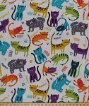 Fleece Meow Club Cats Cat Kitty Feline Paw Prints Multi Color on Cream Animal Kids Fleece Fabric Print by the Yard (46381-1b)