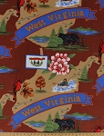 Fleece (not for masks) The Mountain State of West Virginia Tourism Tourist Map Print Fleece Fabric Print by the Yard (state-wv)