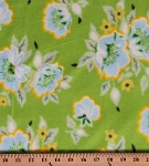 Fleece Church Flowers Floral Spring Summer Green Yellow Fleece Fabric Print by the Yard (oflhb003s)