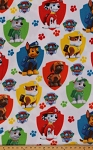 Fleece (not for masks) Paw Patrol Shield Shields Emblem Badge Puppies Puppy Kids Fleece Fabric Print by the Yard (PW-4036-4A)