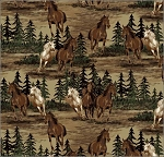 Fleece (not for masks) Horses Mustangs Running Roaming Animals Mustang Valley Fleece Fabric Print by the Yard (a34305b)
