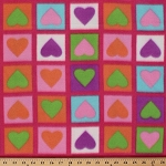 Arctic Fleece Hearts in Block Squares Fleece Fabric Print by the Yard 2001G-1M