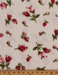 Fleece (not for masks) Pink Tulips/Roses on White Flowers Fleece Fabric Print By the Yard (oe375s)