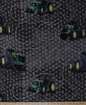 Fleece John Deere Farmland Tractors Tractor Chicken-wire Look Brown Green Farmer Fleece Fabric Print by the Yard (59376-A620710)