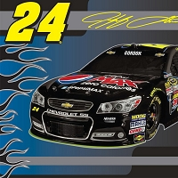 NASCAR® #24 Jeff Gordon Car Race Racing Sports Fleece Fabric Panel (snc-3004-3a-1d)