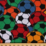 Fleece Soccer Balls Packed Colorful Sports FIFA Fleece Fabric Print by the Yard 2073M-2N