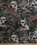Fleece Duck Hunt Hunting Dogs Dog Hunters Swamp Marsh Ducks Leaves Green Fleece Fabric Print by the Yard (aduckhuntm)