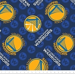 Fleece Golden State Warriors NBA Basketball Sports Team Fleece Fabric Print by the yard