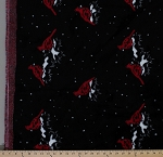 Glenoit Luxury Faux Fur Cardinals Cardinal Bird Birds on Black Fur Fabric By the Yard (2839L-12I)