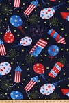 Fleece 4th of July Celebration Independence Day Fireworks Balloons Red White and Blue Fleece Fabric Print by the Yard (oDT3141-3Ad)