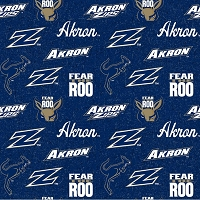 Cotton University of Akron Zips Fear the Roo Logos Blue Tone on Tone College Sports Football Team Cotton Fabric Print by the Yard (AKRON-1178)
