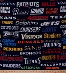 Fleece NFL Teams All Team Logos Professional Football League Sports Fleece Fabric Print by the Yard (14872d)