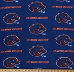 Fleece Boise State University Broncos College Fleece Fabric Print By the Yard - Blue