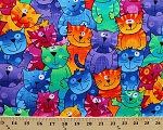 Colorful Funny Cats Packed Animal Pet Cotton Fabric Print by the Yard (gail-c9327)