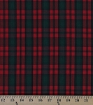 Tartan Plaids Kerr Modern Polyester Cotton Red Green Plaid Check Fabric By the Yard (04-BRODIE)