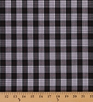 Tartan Plaids Griffin Polyester Cotton Black White Red Plaid Check Fabric By the Yard (27-GRIFFIN)