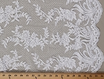 Lace Double-Scalloped Alencon Netting Lace Floral Flowers Cream Fabric By the Yard (2476V-10i)