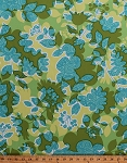 Cotton Home Decor Weight Flowers Floral Leaves Botanical Garden Green Aqua Upholstery Fabric By the Yard (HDEM01-LAKE)