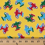 Aviator Aviation Airplanes Airplane on Yellow Light-weight Cotton Twill Fabric by the Yard (9730T-11M)
