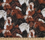 Double-face Reversible Pre-quilted Horse Horses All-over Equestrian Print Fabric by the Yard (212-30681)