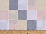 Pastel Patchwork Squares Blue Pink Yellow White Cotton Fabric By the Yard (CPO-13472-198PASTEL)