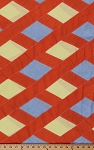 Diagonal Diamond Patchwork Orange Blue Yellow Cotton Fabric By the Yard (33720-6F)