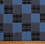 Stitched Patchwork Blue Plaid Yarn-dyed Yarn Dyed Fabric by the Yard (SRK-16016-4-blue)