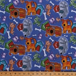 Flannel Dogs Puppies Puppy Pets Animals Dog Houses Canine Blue Kids Cuddle Flannel Print by the Yard (108-3281)