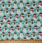 Flannel Snowmen Snowman Winter Holiday Christmas Festive Aqua Jingle Flannel Fabric By the Yard (AAKF-15913-217GLACIER)
