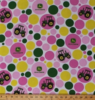 John Deere Polka Dot Dots Tractor Tractors Logo Circles on White Green Yellow Pink Flannel Fabric Print by the Yard (54816-C470710)