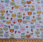 Flannel Cats Cat Faces Allover Kittens Kitty Pets Animals Feline Birds Butterflies Blue Flannel Fabric By the Yard (N-0823-11)