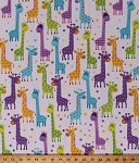 Flannel Giraffes Giraffe Animals Kids Childrens Safari Wildlife Nature Long Necks Nursery Baby Babies Flannel Fabric By the Yard (108-3601)