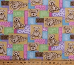 Flannel Teddy Bears Toys Stuffed Animal Patchwork Boyd's Bear Kids Flannel Fabric By the Yard (17721-MULTI)