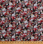 Flannel Penguins Penguin Polar Bears Christmas Birds Animals Holiday Red Black White Gray Arctic Antics Flannel Fabric By the Yard (F6533-98)