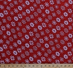 Flannel Snowflakes Snow Winter Christmas Holiday Festive Red White Frosty Folks Flannel Fabric By the Yard (F6739-88)