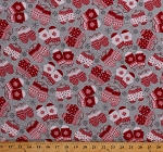Flannel Snowflakes Mittens Fair Isle Scandinavian Winter Holiday Christmas Red White Gray Frosty Folks Flannel Fabric By the Yard (F6743-98)
