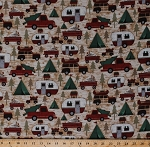 Flannel Camping North Woods Country Campers Trailers Caravans Truck Tenting Pine Birch Trees Landscape Scenic Woodland Retreat Flannel Fabric By the Yard (F6805-63)