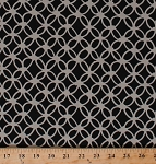 Cotton Macrame Circles Knots Geometric Cotton & Steel Black Cotton Fabric Print by the Yard (R-9A-black)