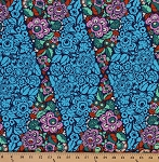 Cotton Amy Butler Hapi Trapeze Flowers Flower Blossoms Blossom Bloom Leaves Leaf Parallelogram Blue Pink Green Cotton Fabric Print by the Yard (PWAB116)
